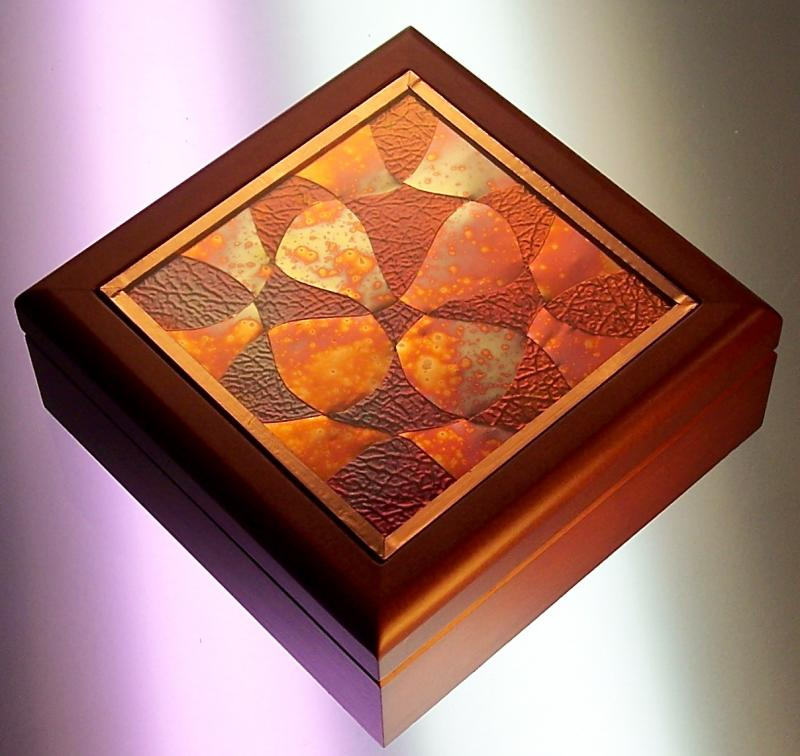Wood Box with Woven Copper Inset