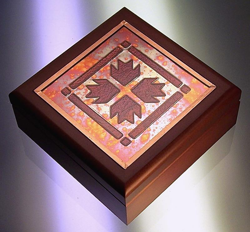 Wood Box with Copper Quilt Insert