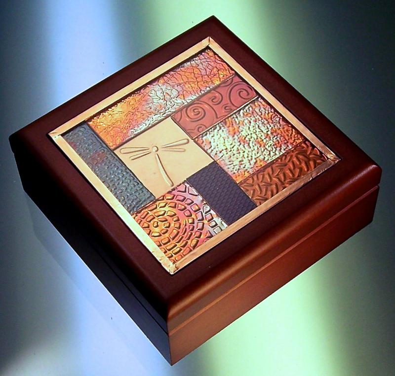 Wood Box with Textured Mosaic Inset
