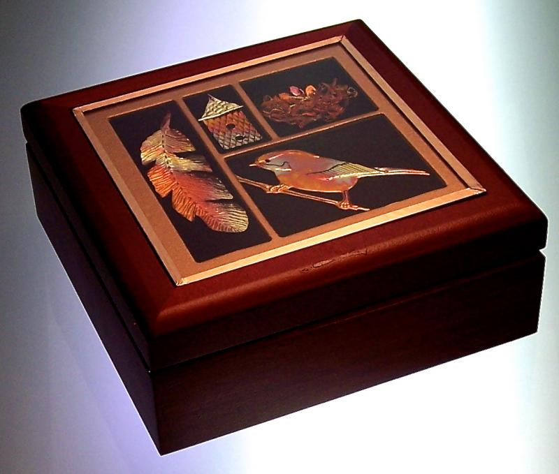 Wood Box with Bird Shadowbox Inset