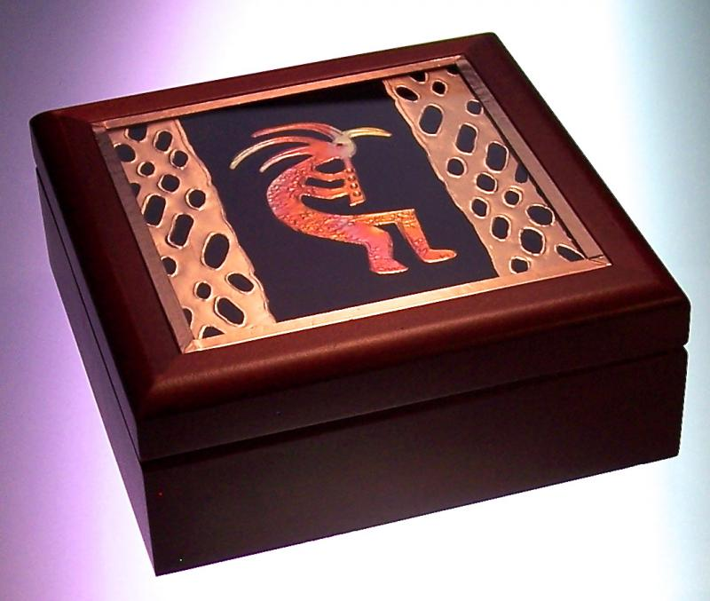 wood box with kokopelli