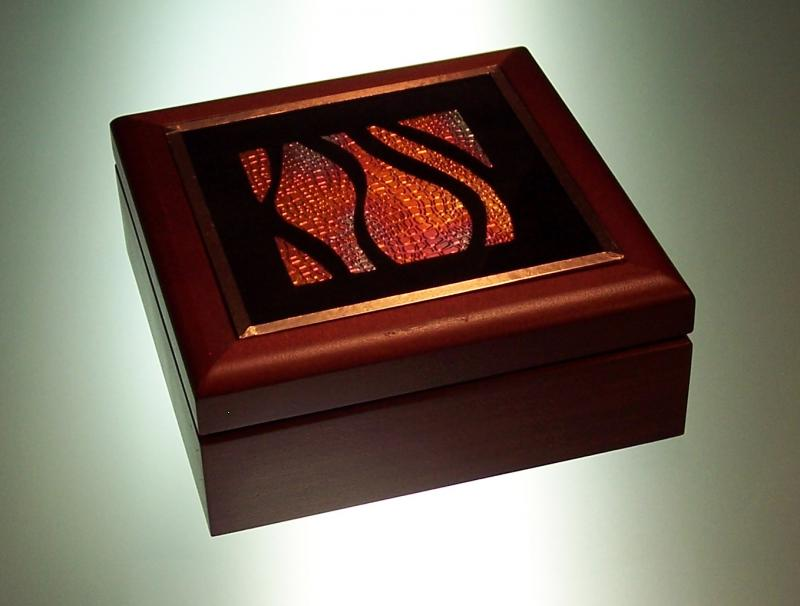 wood box with abstract copper design