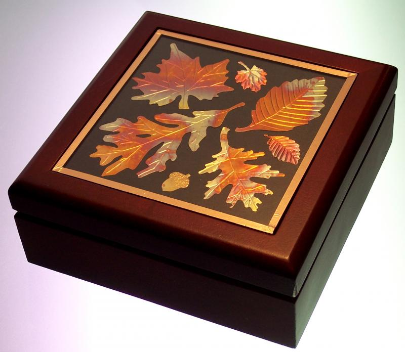 Wood Box with Copper Leaves
